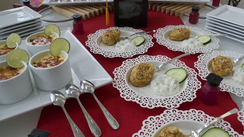 Mini Tortas de Cangrejo y Mini Creme Brulee de Jengibre y Limón