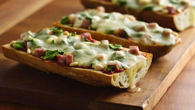 Spinach and Ham French Bread Pizza