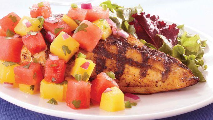 Chicken with Watermelon-Mango Salsa