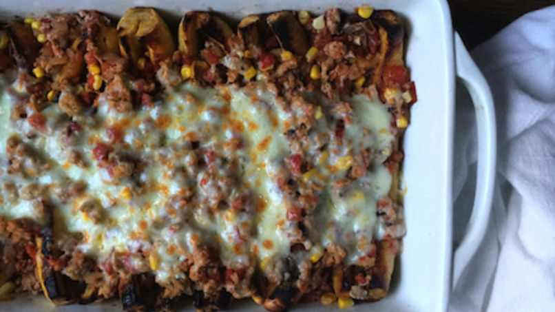 Sweet Plantains Stuffed with Turkey, Corn and Cheese