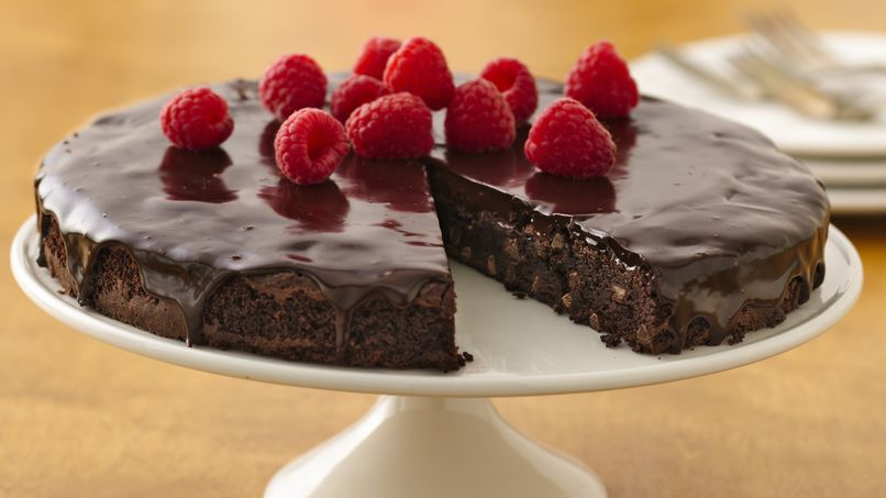 Brownie Ganache Torte with Raspberries