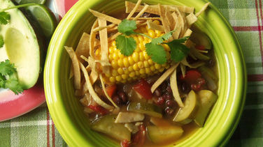Zucchini, Black Bean and Corn Tortilla Soup