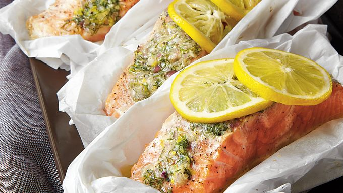 Wild Salmon Parcels with Dill-Shallot Butter