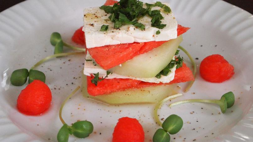 Watermelon, Chayote Squash and Feta Terrine