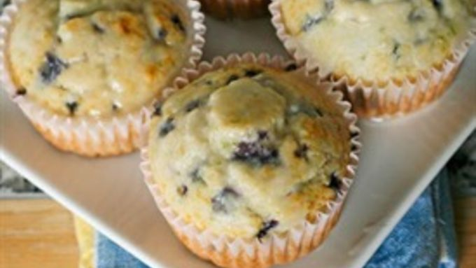 Easy Lime Blueberry Muffins with Lime Glaze