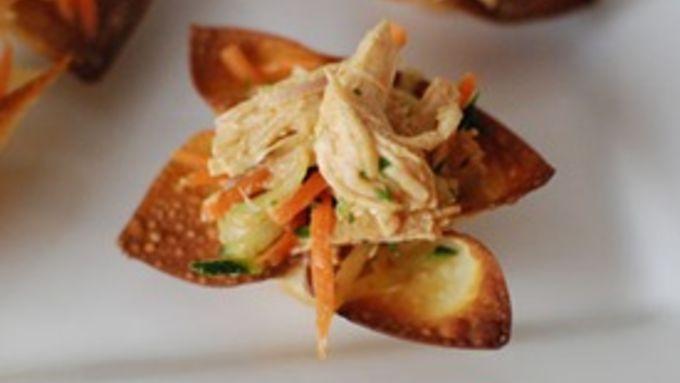Asian Chicken Salad in Crispy Wonton Cups