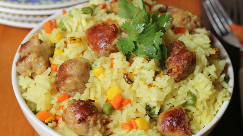 Rice with Vegetables and Chorizo