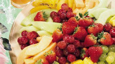 Fresh Fruit Platter with Lemon-Mint Glaze