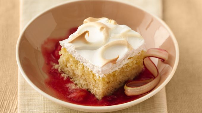 Lemon Meringue Cake with Strawberry Rhubarb Sauce