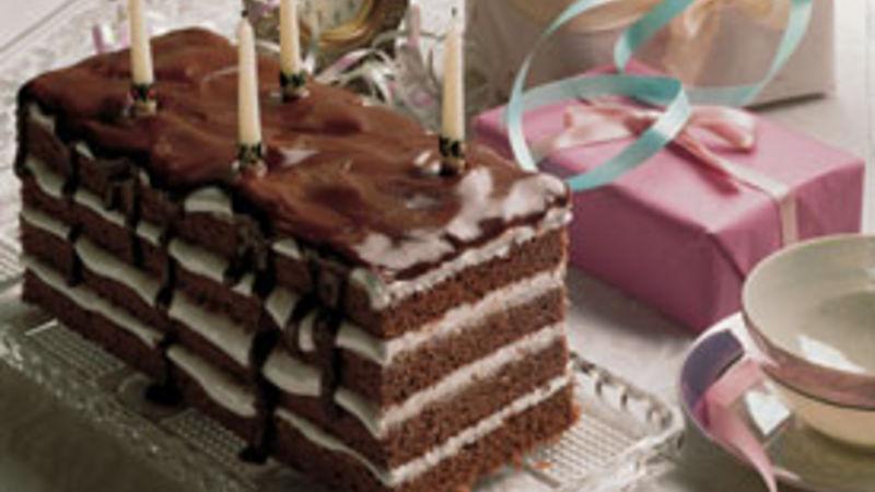 Chocolate-Marshmallow Ribbon Cake
