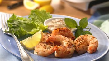 Shrimp with Lemon-Basil Mayonnaise