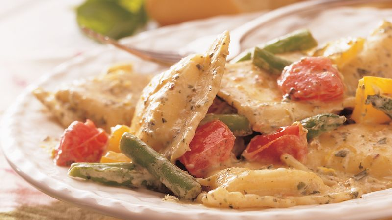 Spring Ravioli with Pesto Cream