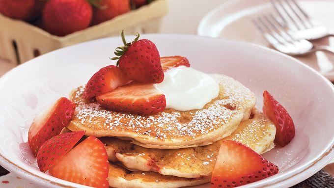 Strawberries and Cream Pancakes
