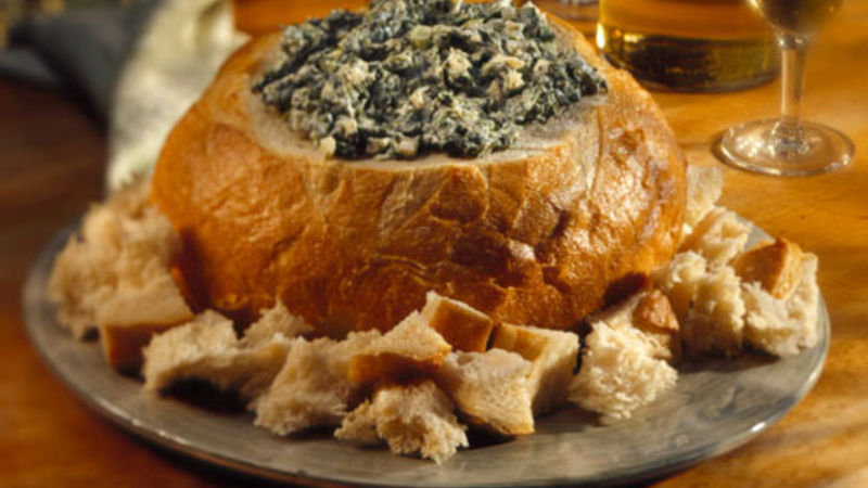 Spinach Dip in Bread Bowl