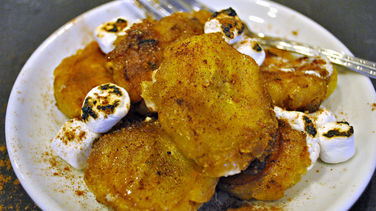 Candied Tostones with Toasted Marshmallow Topping