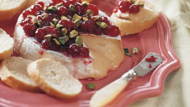 Brie with Cranberries and Pistachio Nuts