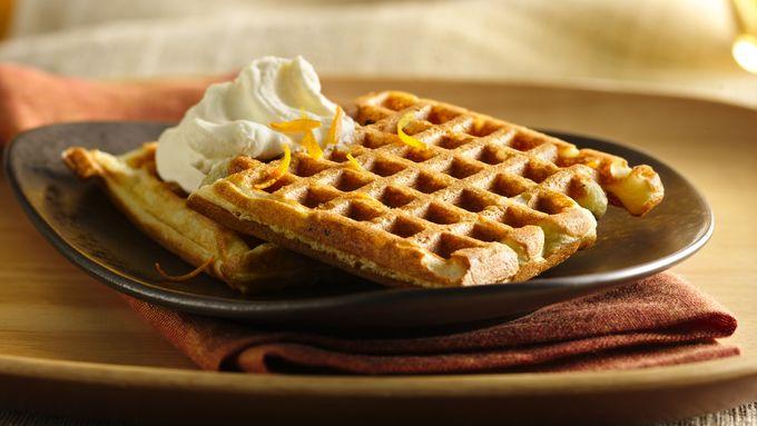 Chocolate Chip Waffles with Orange Cream