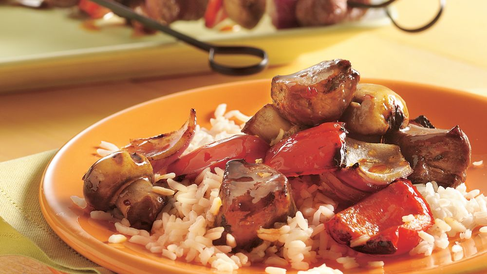 Grilled Bourbon-Glazed Beef Kabobs