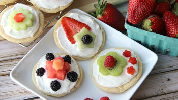 Mini Fruit Pizzas with Stacked Fruit Flowers