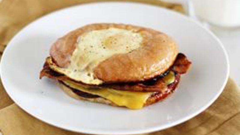 Fried Egg Donut Breakfast Sandwich