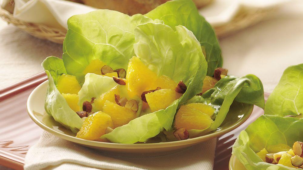 Orange-Almond Salad in Lettuce Cups