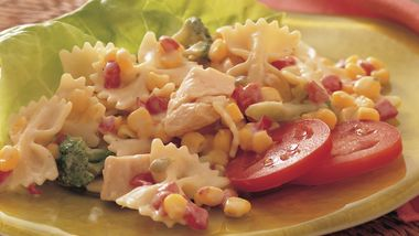 Chicken Pasta Salad with Roasted Red Pepper Dressing