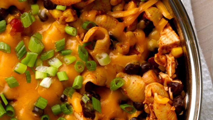 One-Pot Cheesy Chicken Enchilada Pasta
