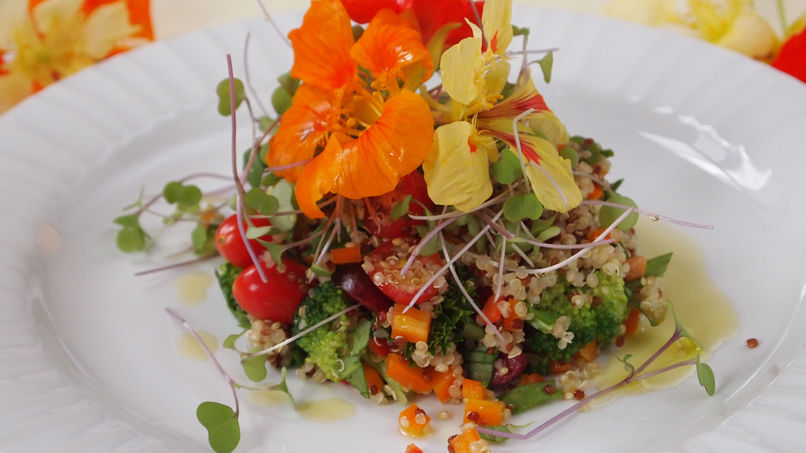 Colorful Quinoa and Flower Salad