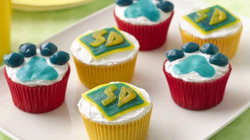 Cupcakes con huellas de Scooby-Doo