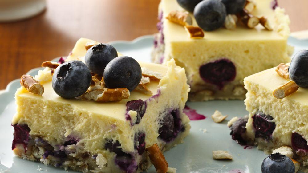 Lemon-Blueberry Pretzel Cheesecake Squares