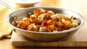 Gnudi with Butternut Squash, Sage and Crispy Prosciutto Topping