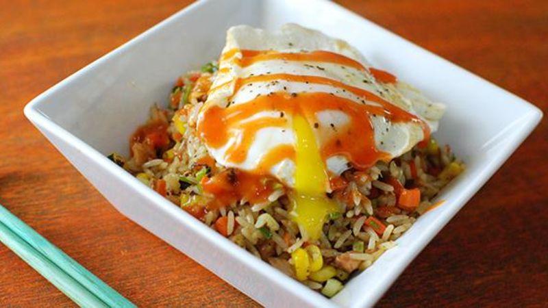Turkey Fried Rice with Sriracha Gravy