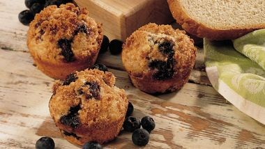 Lightened-Up Whole Wheat-Blueberry Muffins
