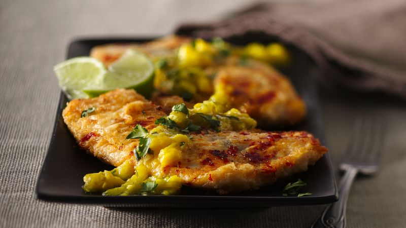 Spiced Tilapia with Honeyed Mango-Lime Sauce