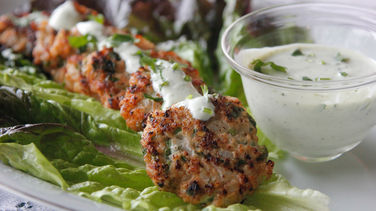 Mexican Shrimp Patties with Serrano Pepper and Yogurt Lemon Salsa