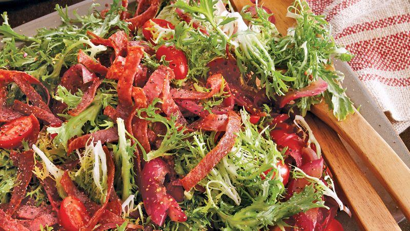 Warm Frisée Salad with Crispy Salami