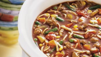 Slow-Cooked Hamburger and Noodle Soup