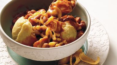 Chicken Chili over Corn Muffins