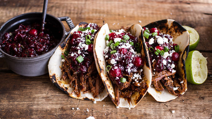 Spicy Slow-Cooker Beef Tacos with Cranberry Salsa
