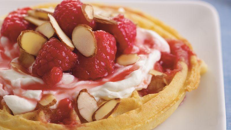 Raspberries and Cream Waffles