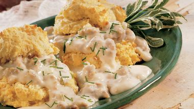 Cornmeal-Sage Biscuits with Sausage Gravy