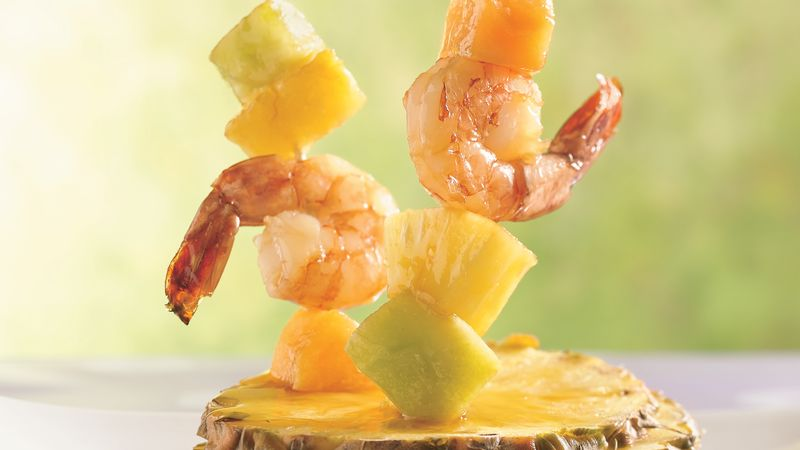 Shrimp, Melon and Pineapple Kabobs