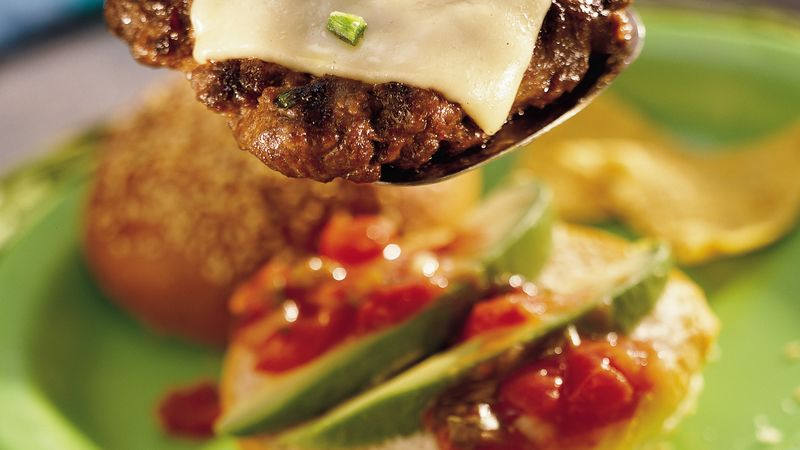 Salsa Topped Grilled Taco Burgers