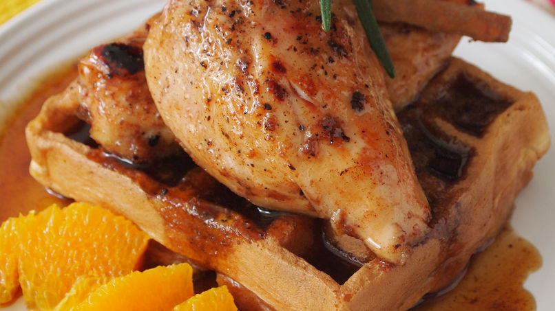 Corn Biscuit Waffles with Honey-Cinnamon Baked Chicken