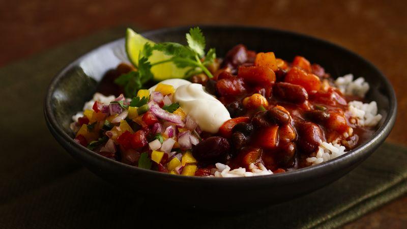 Three-Bean Chili and Rice
