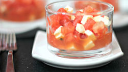 Watermelon Salad with Fresh Cheese and Mint