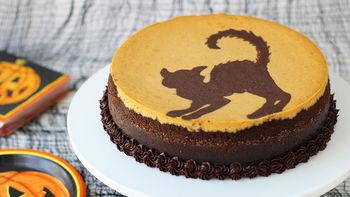 Painted Chocolate Pumpkin Cheesecake
