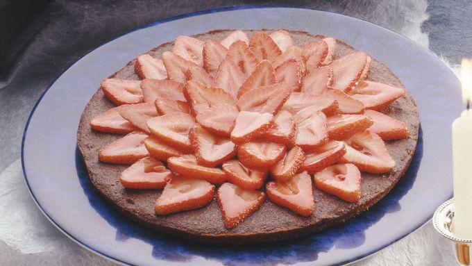 Mocha Brownie Torte with Strawberries