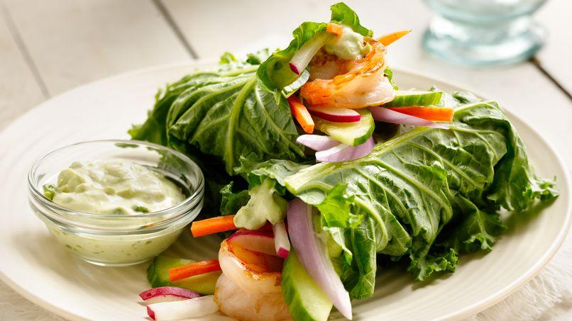 Wraps de Col Verde (Kale) y Camarones a la Parrilla