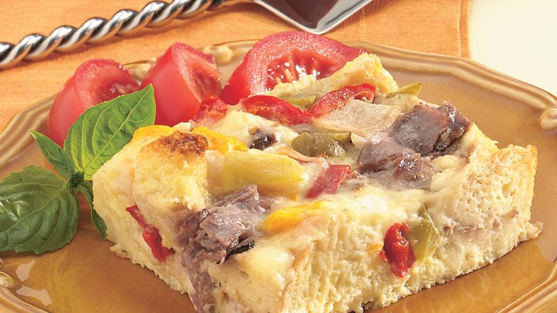 Make-Ahead Philly Beef Strata